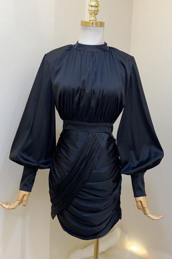 특별한날 셔링대각선포인트 오피스 여성 모임룩 원피스 (블랙,화이트)S200107P005