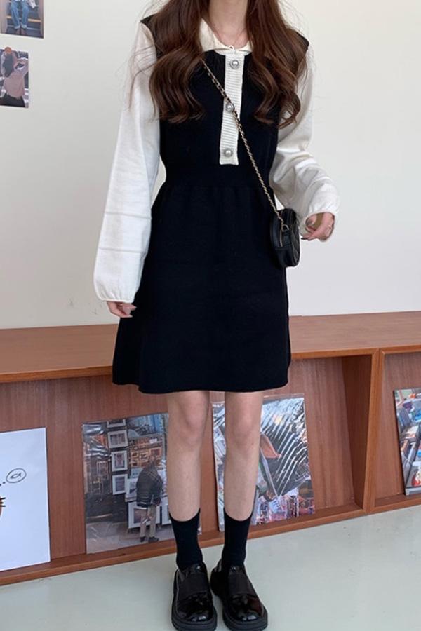 [당일배송] 데일리 심플단정 카라진주 블랙배색 퍼프절개 니트원피스F191218N001