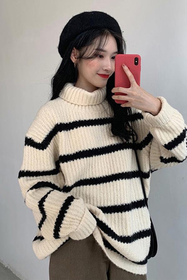 소마 폴라넥 골지 스트라이프 단가라 오버 니트 스웨터 (블랙,그린,브라운)S200110D007