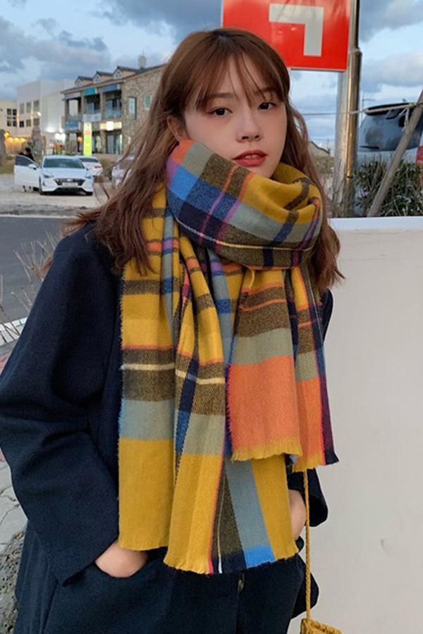 스윗컬러배색 스타일리쉬 체크롱 목도리 (6color)S200113N021