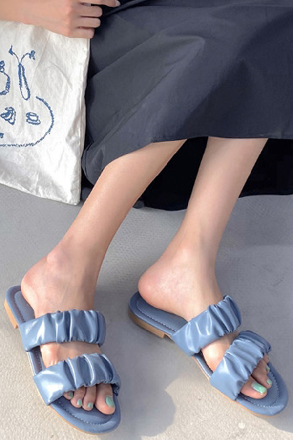 보테주름 투슬링 발편한 여성 여름슬리퍼 (블랙,아이보리화이트,블루)S200508P007