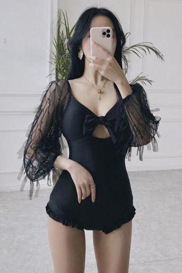 줄리아 베이직 유니크 섹시룩 시스루 수술포인트 꼬임 리본 모노키니비키니 (블랙)S200520E005SW