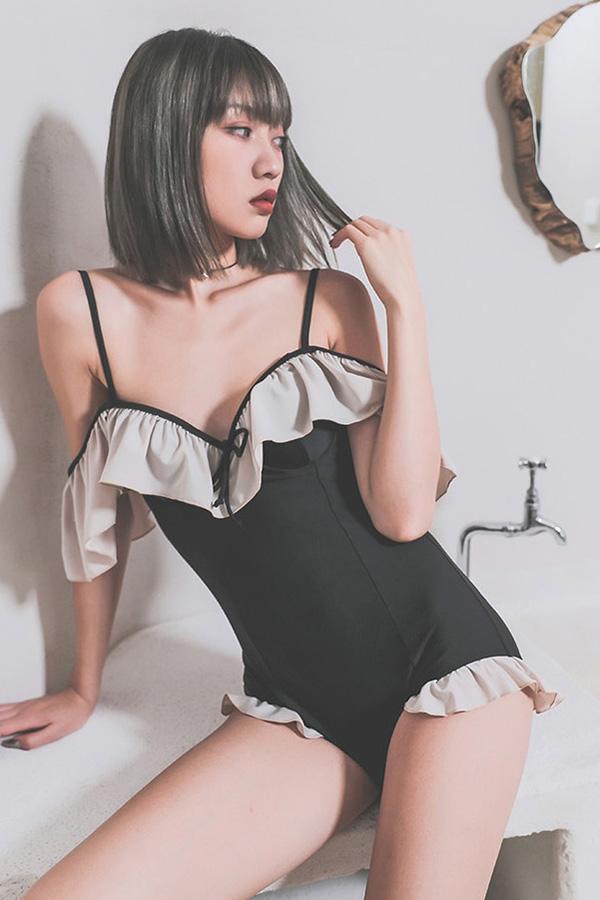마르징 태니 프릴 핫숄더 무드 원피스 수영복S200520D042SW