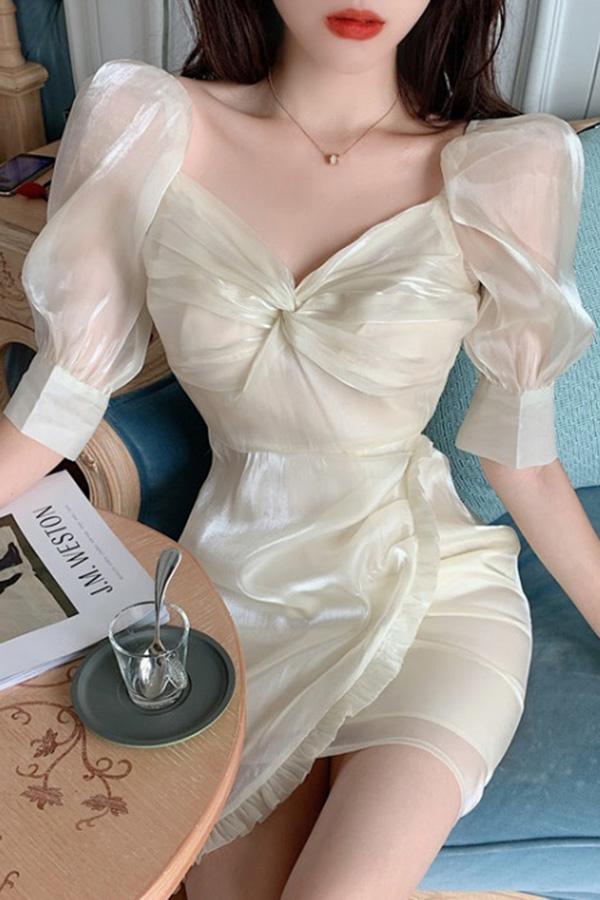 로이 꼬임 새틴퍼프 시스루 우아한 촉감 결혼식하객룩 은은화려한 원피스 (살구,핑크)S200521N014OPS