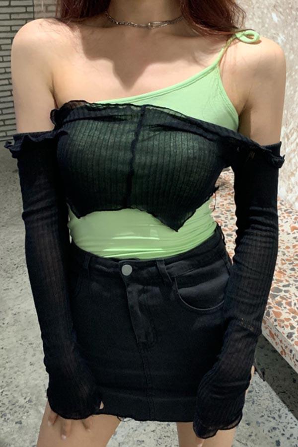 핫걸 섹시 사이드 오프숄더 레이어드 나시 골지 여성 탑 (블루화이트,블랙그린)S200522S013TOP