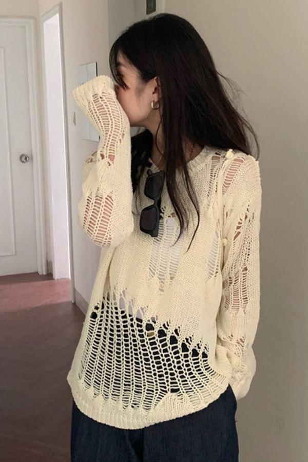 보이드 데미지 네트 니트 라운드 긴팔 여름 스웨터 (살구,블랙)S200715D004TOP