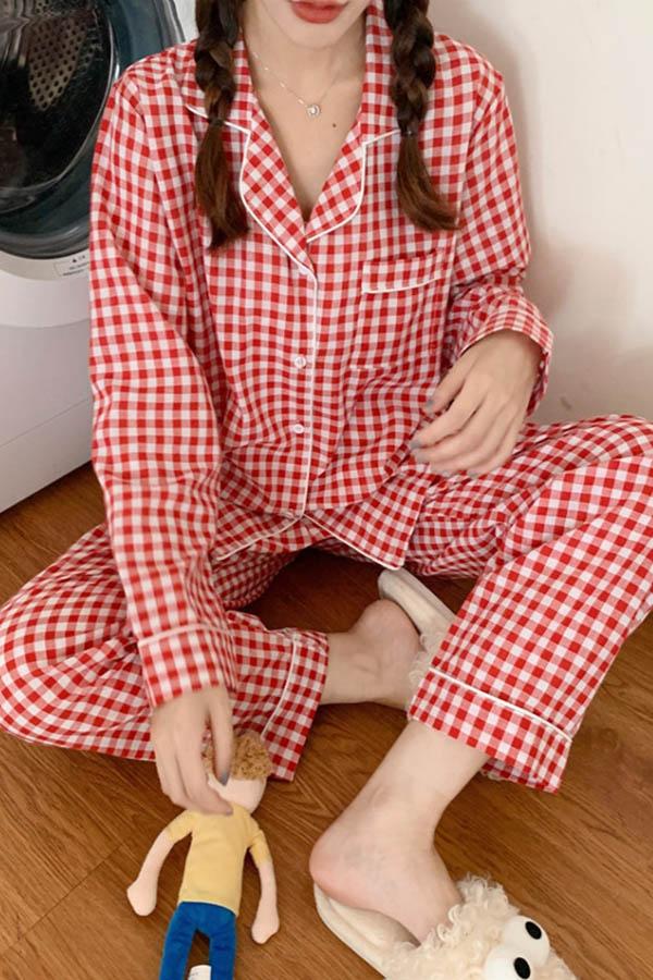 컴포티 2가지체크버전 데일리 여성 파자마 잠옷세트 (블랙화이트,레드화이트,블루)S200729P013EASY세트