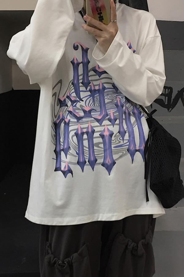 [정상/화이트L] 코벤 하이브리드 하운드 오버 루즈 유니섹스 긴팔 티셔츠 [즉시발송]▶S_탑1