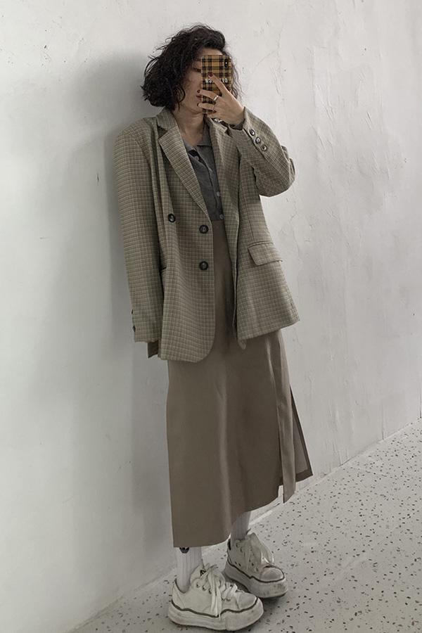 박시오버핏 잔체크 데일리룩 더블버튼 숏자켓 (베이지체크,그레이체크,그린체크)S200821S012JK