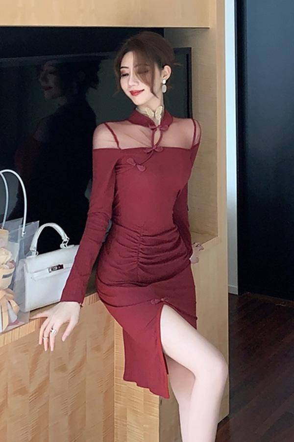 고혹미 숄더시스루 차이카라 슬릿포인 미디 원피스 (와인레드,블랙)S200915S017OPS