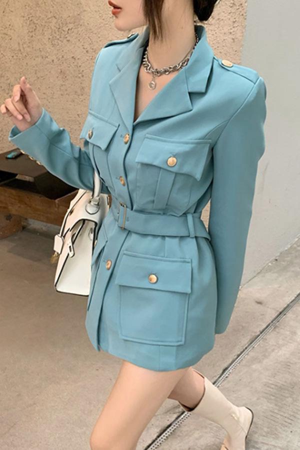 요니 버튼포인 벨티드 모던 시크룩 여성자켓 (호수블루,블랙)S200918S023JK