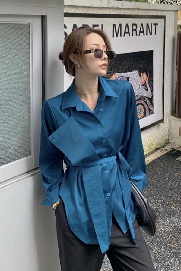 마렌 스타일리시 카라포인 웨이스트 스트랩 셔츠 (화이트,블루,블랙)S200918S026SH