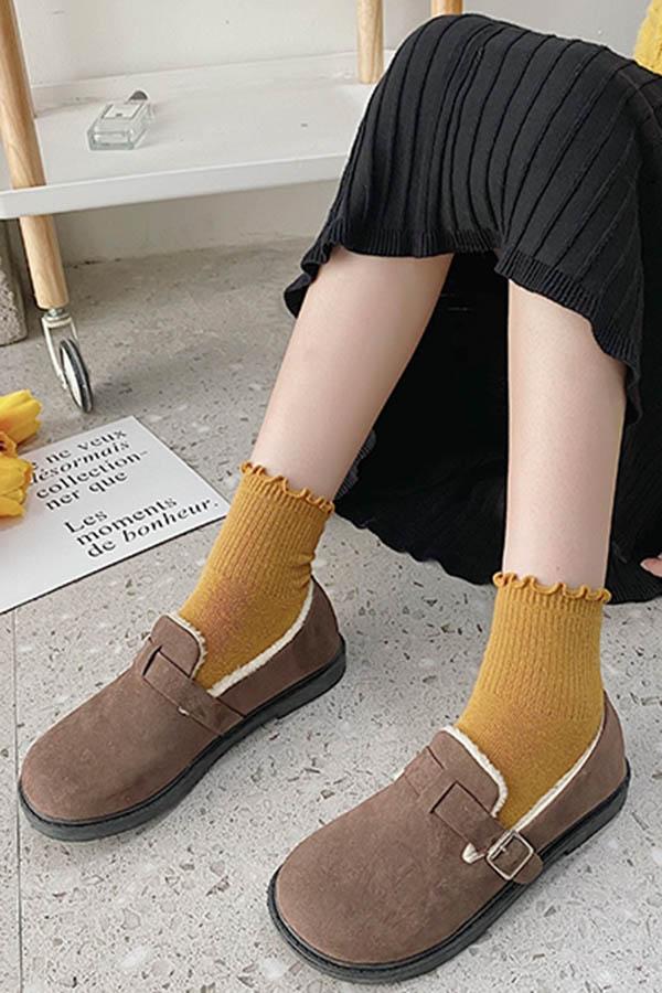 서큐리 버클 에코퍼 여성 데일리 윈터 기본 로퍼슈즈 (블랙,브라운)S200922P014SHOES