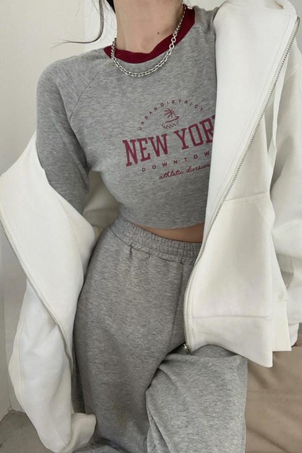 뉴욕타운 레터링 크롭 배색네크라인 긴팔티셔츠+루즈핏 화이트 후드집업세트SETS200922N015SET