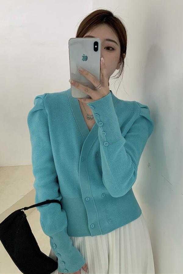 소피 청순 더블버튼 유니크 레트로 퍼프가디건 (블랙,블루)S200922N017CD