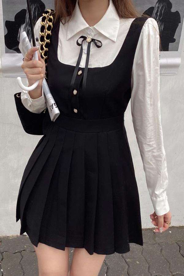 데이르햅번 러블리 플리츠스커트 여성 하객룩 미니원피스 (블랙,베이지)S200923P013OPS
