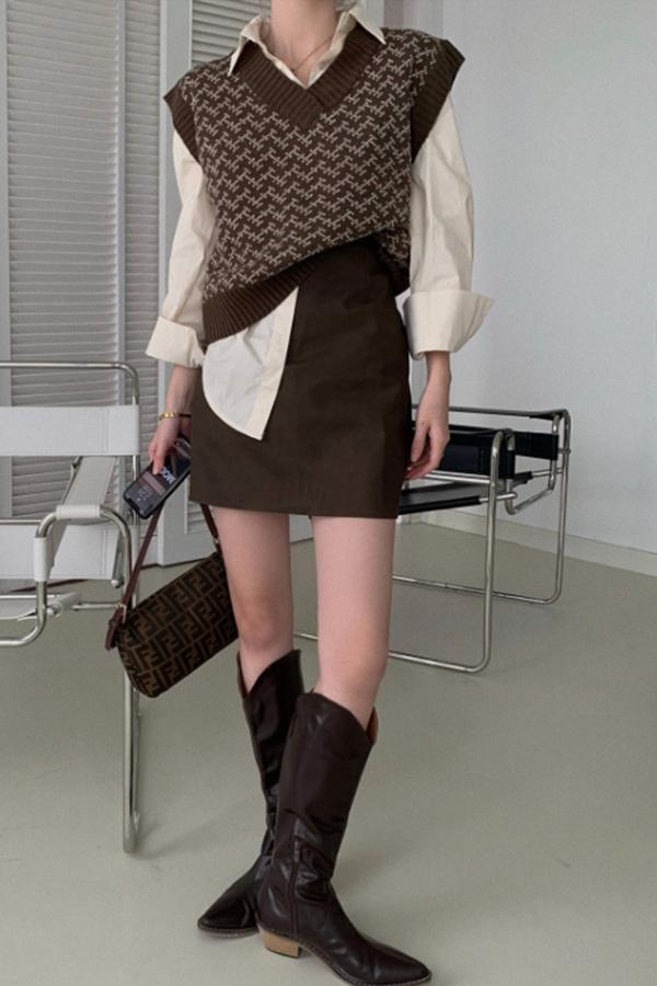 케미 베스트 루즈핏 심플셔츠 미니 스커트 3피스 여성 코디세트SETS200923P031SET