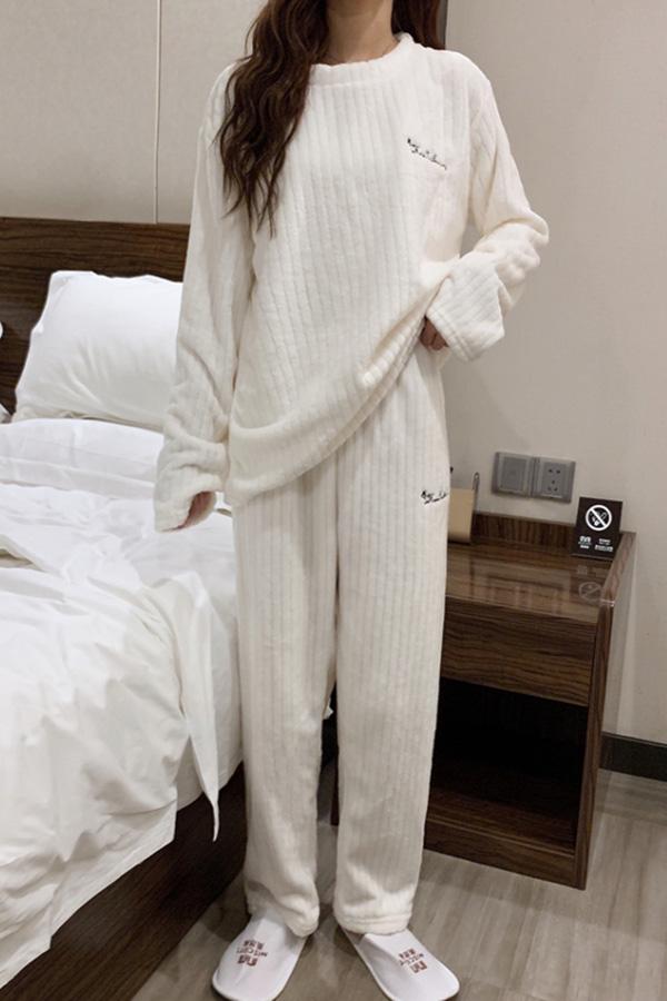 롤스 뽀송이 포근 여성 데일리 겨울 파자마세트 (라이트퍼플,화이트,블루,라이트핑크)S200923P009EASY