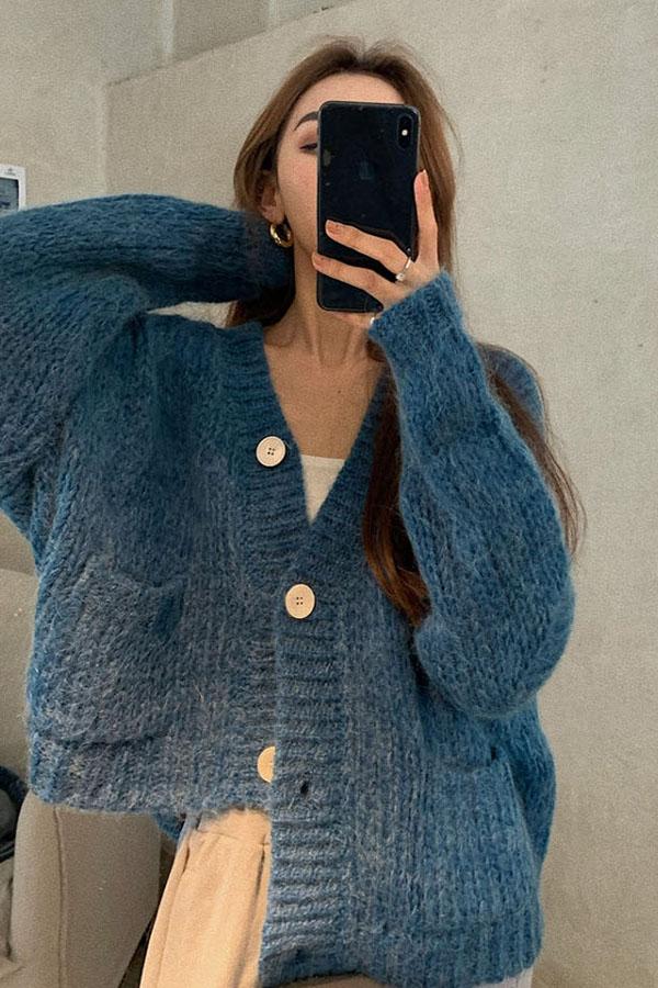범프 루즈핏 버튼 포켓 니트 가디건 (블랙,베이지,블루)S200924D010CD