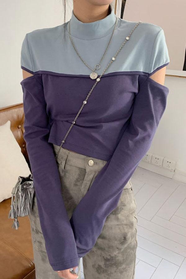 폴리주스 배색 슬릿 숄더 폴라넥 크롭 티셔츠S200928D007TOP