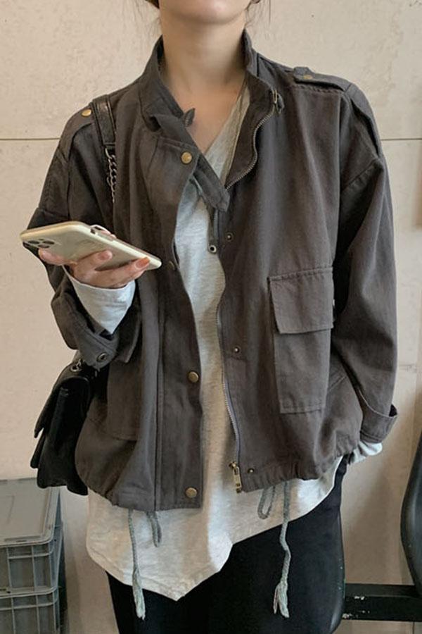 로켄 하이넥 집업 포켓 스트링 사파리 야상 자켓S200928D010JK