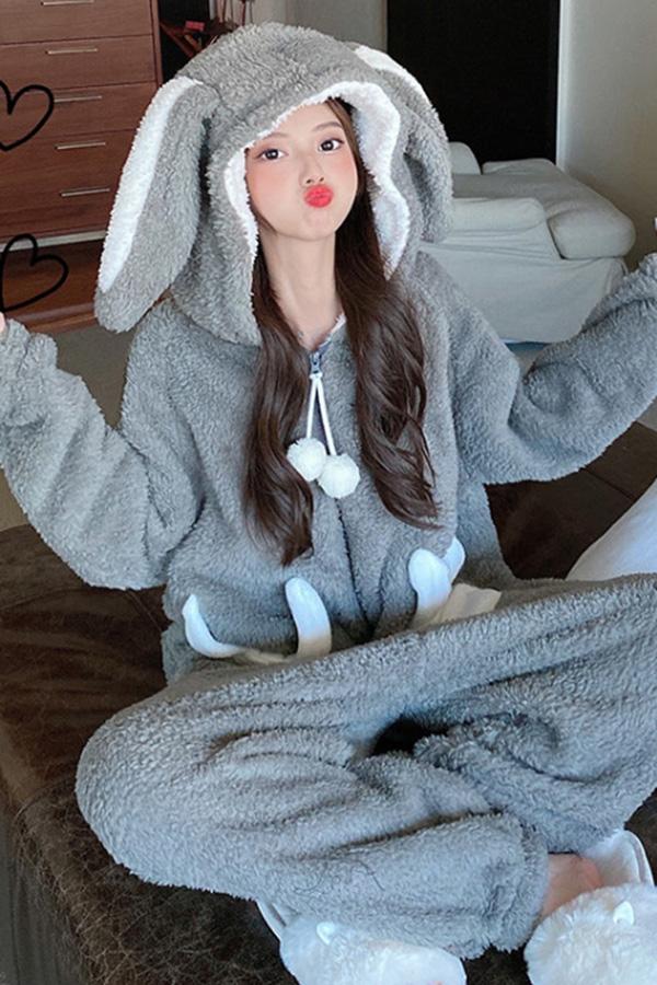 비티 뽀글 에코 양털퍼 플리스 토끼 레빗 동물 잠옷 (그레이)S201023D009EASY