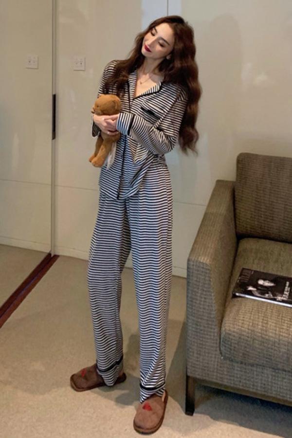 카라 셔츠 롤업 팬츠 블랙 스트라이프 파자마 잠옷 세트S201202K020EASY