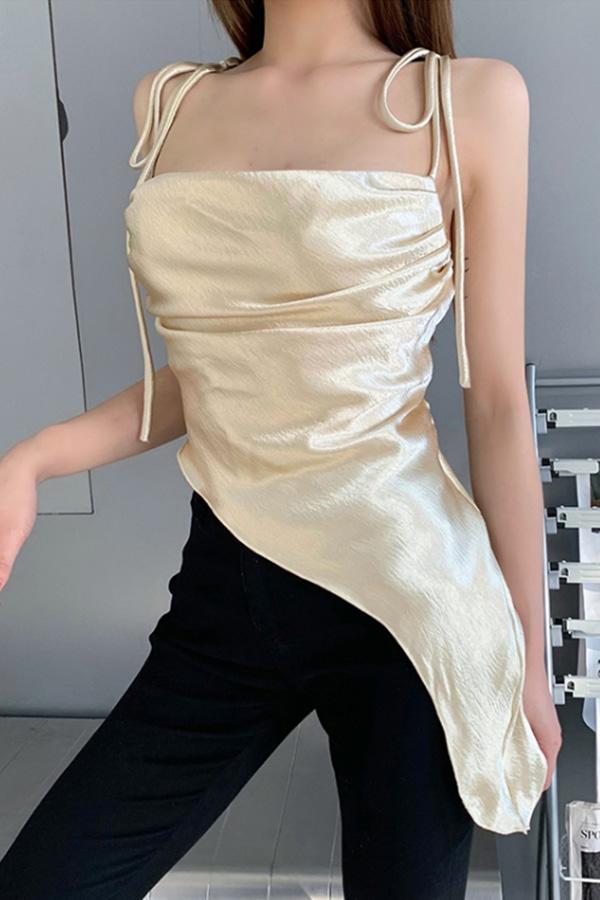 홀리 새틴 언발롱 일자 섹시 여성 탑 (살구,퍼플)S210326S035TOP