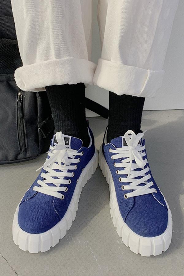 래노스 라운드토 컬러드 캔버스 패션 화이트플랫폼 통굽 스니커즈 (블랙,브라운,블루,화이트지브라)S210412K034SHOES