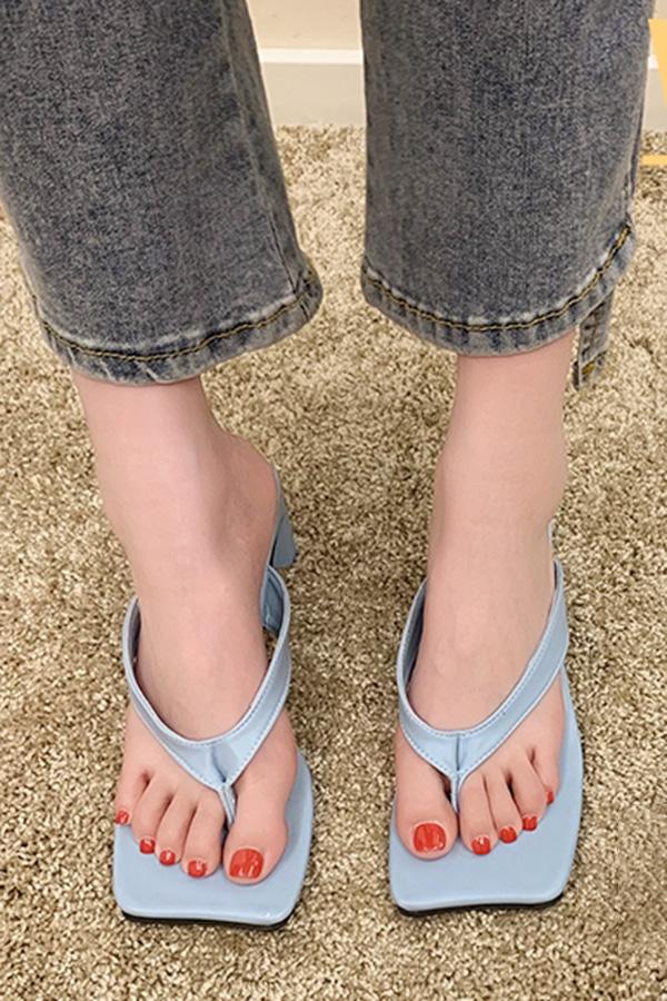 드로아 무드룩 스퀘어토 쪼리 하이힐  (블랙,블루,화이트)S210504A001SHOES