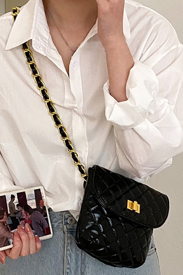 레아 골드락 체인스트랩 퀄팅 크로스백 (화이트,블랙,베이지)S210506A011BAG
