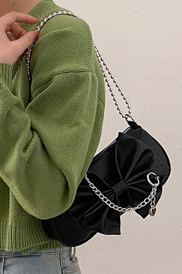 레나 리본 앞장식 체인 숄더 크로스백 (화이트,블랙,옐로우,베이지)S210506A012BAG