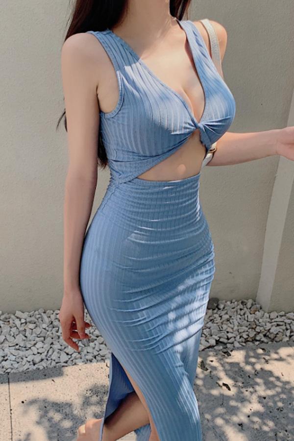 브링 섹시룩 민소매 트임 슬림 미디 롱 원피스 (블랙,블루)S210506E013OPS