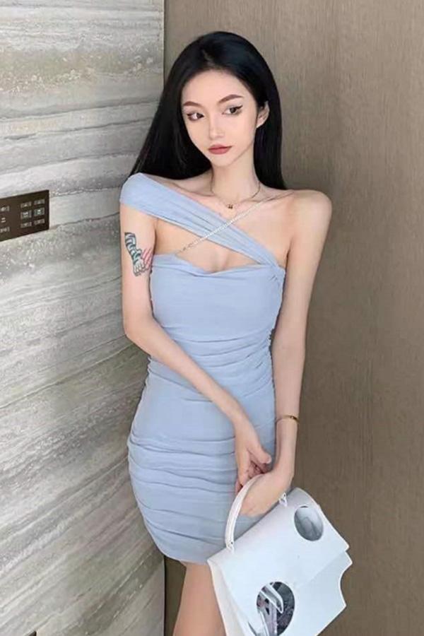 위아 섹시룩 언발란스 트임 슬림 셔링 미니원피스 (블루,핑크)S210506E025OPS
