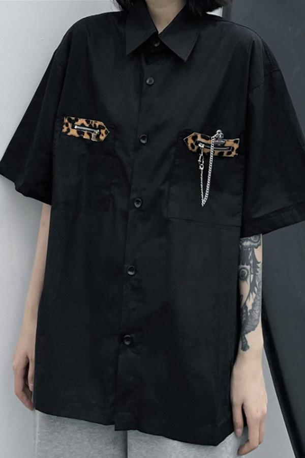 라오디 레오파드 포켓 루즈핏 셔츠S210507A005SH