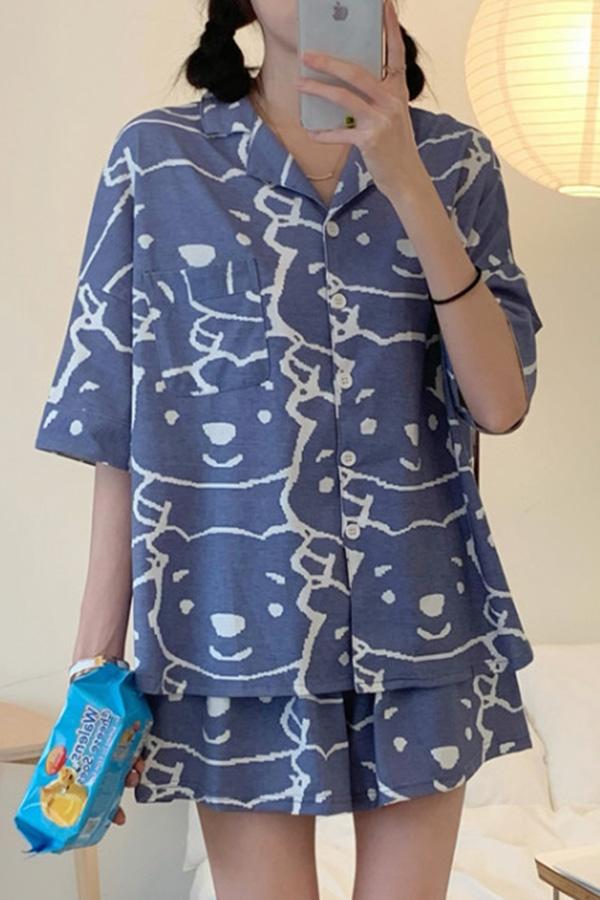 헤지 큐티 드로잉 블루 홈 파자마 셔츠상의+팬츠 투피스 세트S210604K006EASY