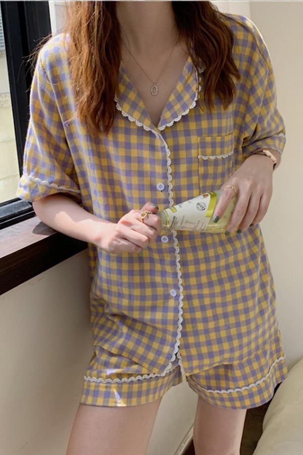 캔드 퍼플 옐로 체크 큐티 홈 파자마 셔츠상의+팬츠 투피스 세트S210604K007EASY