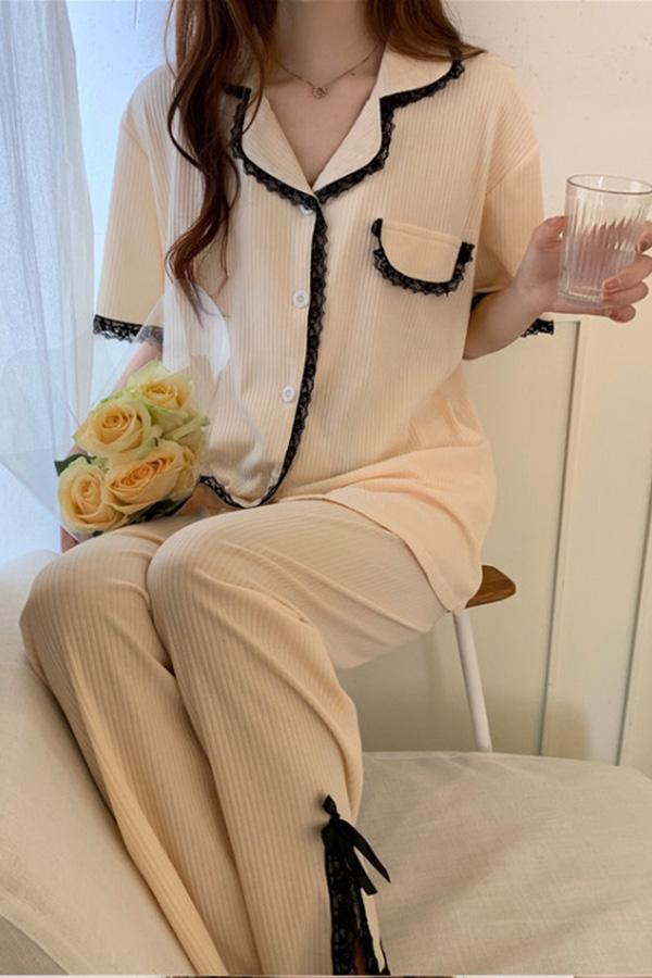 이즈 베이지 블랙 레이스 디테일 홈파자마 셔츠상의+팬츠 투피스 세트S210604K009EASY