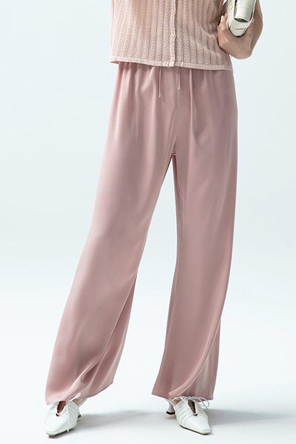 여름 에에컨바지 와이드 하이웨이스트 슬랙스 캐주얼 팬츠 (블랙,핑크)S210611H024PT