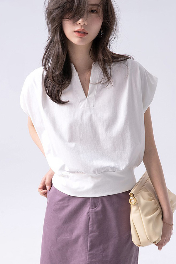 튤리소매 딥 샤프 브이넥 심플 블라우스 티셔츠 (블랙,그레이,화이트)S210611H025TOP
