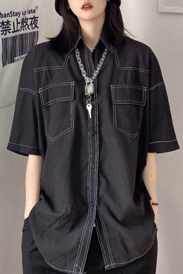 두아 스트릿 캐주얼룩 스티치 포켓 셔츠 (화이트,블랙)S210614A017SH