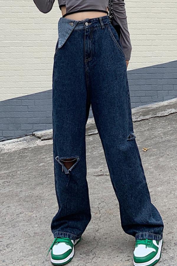 고고 여성 일상 캐주얼룩 블루그레이 하이웨스트 트라이앵글 디자인 포인트 사이드 컷팅 와이드핏 롱 데님 팬츠S210910J008PT