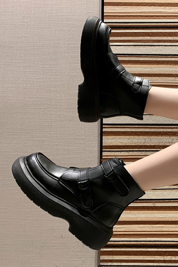 스텝 데일리 캐주얼 라운드 앞코 더블 버클 스트랩 통굽 미들부츠 (블랙,아이보리화이트)S211012J009SHOES