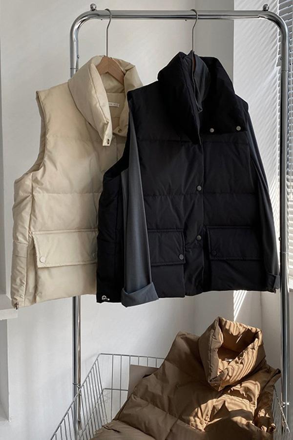 가을겨울 따뜻한 감성컬러 퀼팅 하이넥 포켓 도톰 패딩 조끼 (블랙,베이지,밀크살구)S211014J002VT