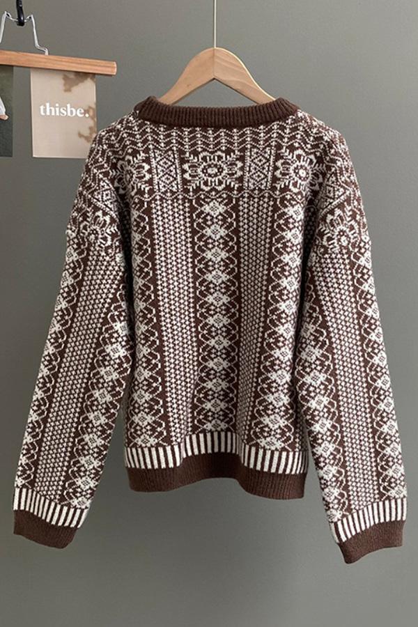 불멍타임 크루넥 긴소매 롱슬리브 빈티지패턴 도톰 니트 스웨터 (블랙,그린,커피)S211014J006KN
