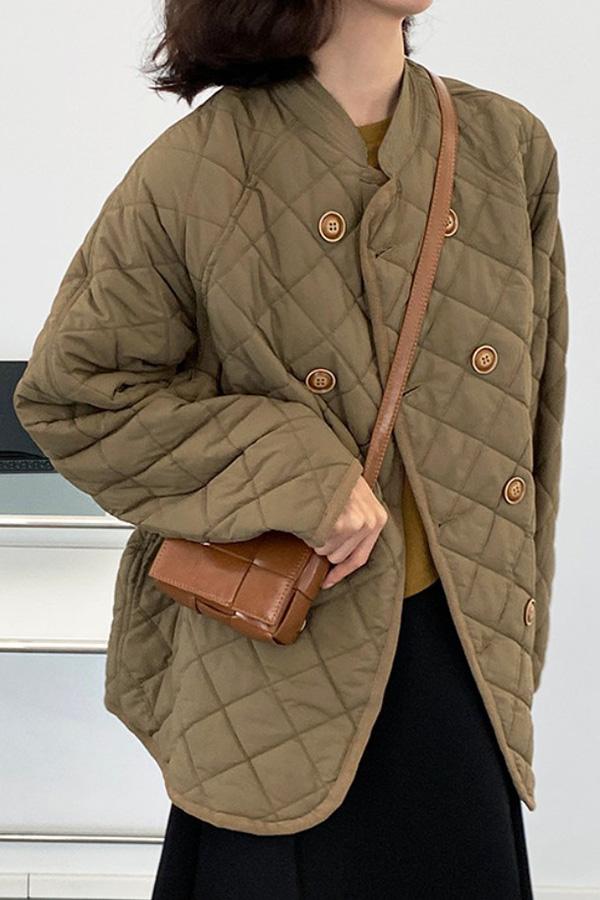 아미 데일리 깔깔이 다이아 퀼팅 더블 브레스트 버튼 패딩 자켓 (아이보리화이트,옐로우올리브)S211014J010JK
