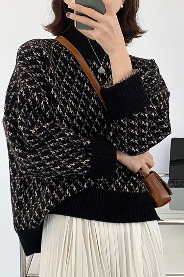 간절기 러블리 빈티지룩 감성패턴 긴소매 롱슬리브 니트 스웨터 (블랙,커피,아이보리)S211014J013KN