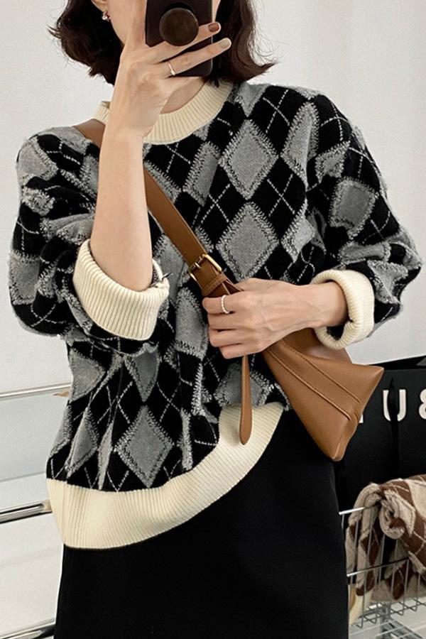 프라우드 데일리 도톰 아비가일패턴 크루넥 긴소매 롱슬리브 니트 스웨터 (블랙,커피)S211014J018KN